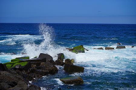 Golf, injecteren, schuim, golfbreker, zee, Oceaan, water