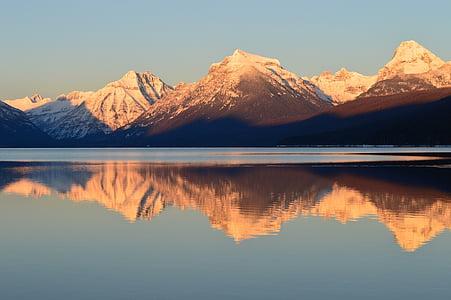 Llac mcdonald, paisatge, muntanyes, horitzó, pic, reflexió, l'aigua