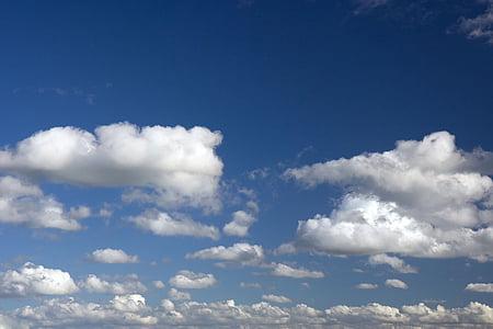 cel, fosc, blau, blanc, núvol, núvols