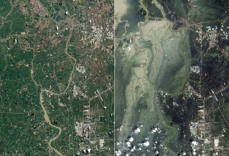 contre les inondations, tsunami, Ayutthaya, photo satellite, vue aérienne, Terre, carte