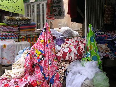 บาซาร์, ร้าน, ผ้า, ผ้า, ตลาด, ขาย, มีสีสัน