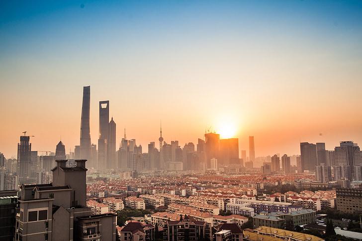 shanghai, tall buildings, lu jia zui, sunset, cityscape