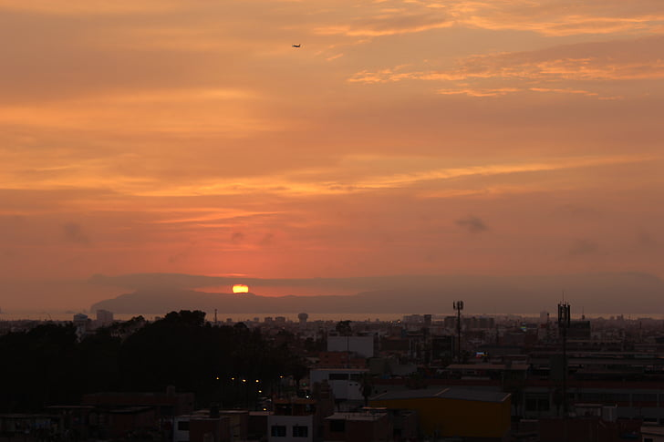 paisatge, calç, Perú, cel, posta de sol, capvespre, paisatge urbà