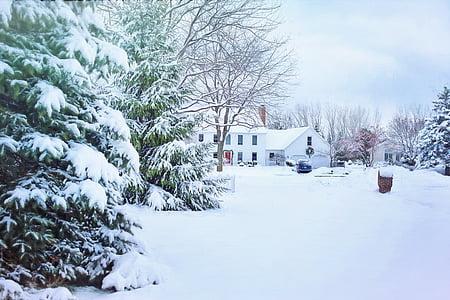 Vianočný dom, zasnežené okolie, sneh, zimné, štvrť, dom, Vianoce