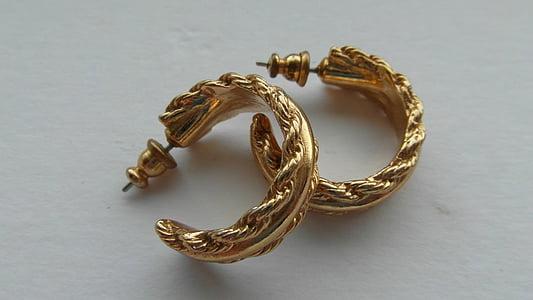 复古金耳环, 复古黄金首饰, 耳环, 黄金, 年份, 收藏, 珠宝首饰