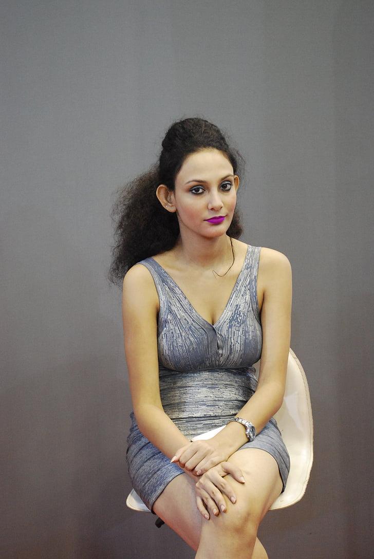 model de, model de dona, jove, pell, cadira