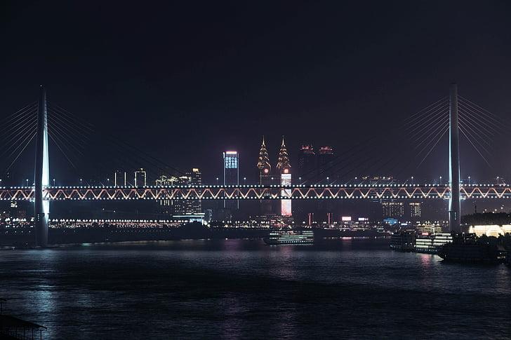 night view, nanbin, chongqing, chinese new year, city, bridge, lights