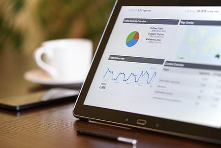 analista, analítica, entelar, negoci, gràfics, close-up, cafè