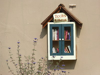 books, reading, library, little library, window, house, facade