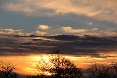 soluppgång, morgon, morgenstimmung, Sky, solen, moln, mörka moln