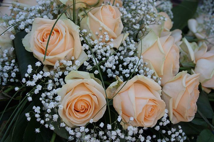 ramo de rosas, Rosas, flores, ramo de la, boda, planta