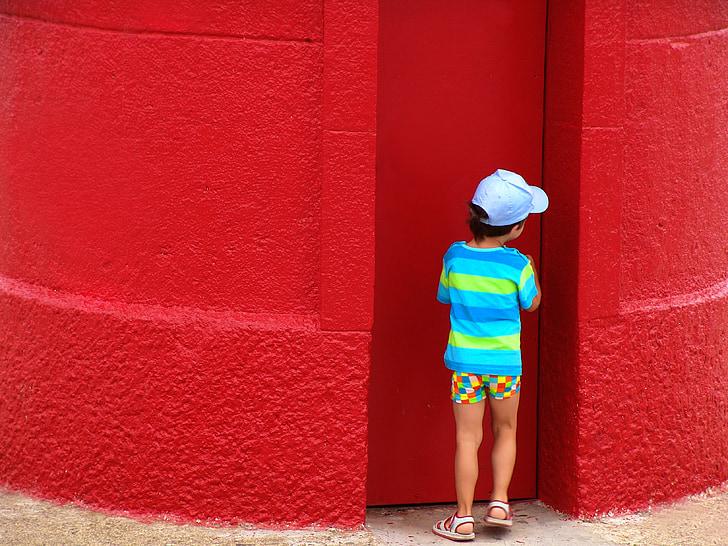 vaikas, raudona, sienos, žaisti, žaidimas, slepiasi, lauke