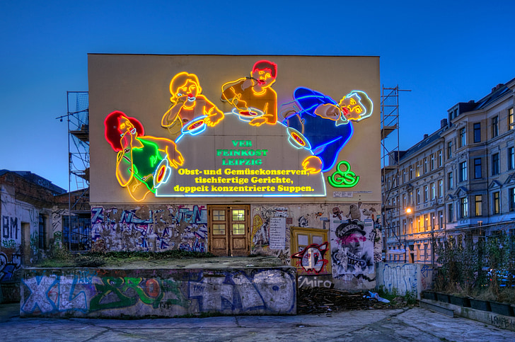 Leipzig, publicidad, cuchara de, familia, familia de cuchara, publicidad de neón