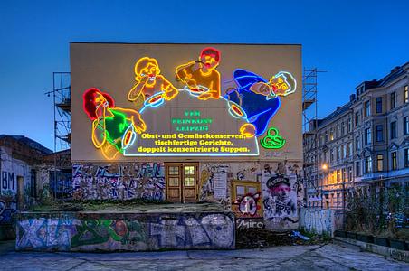Leipzig, publicitat, Cullera, família, família de cullera, publicitat de neó