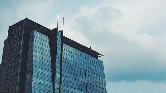 edifici, arquitectura, façana, vidre, acer, moderna, contemporani