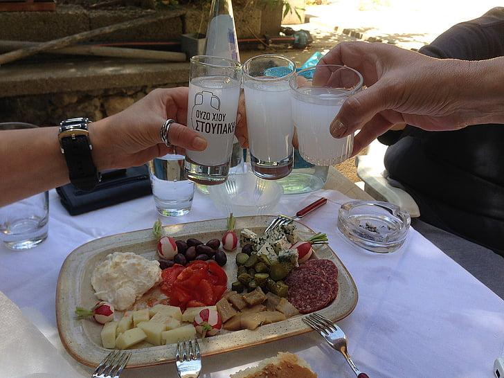 เครื่องดื่มกับเพื่อน ๆ, กรีซ, ชิโอ, ouzo, จาน, ใช้กับ, อาหาร