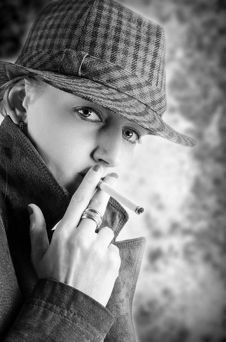 smoke, young, human, model, adult, people, cigarette