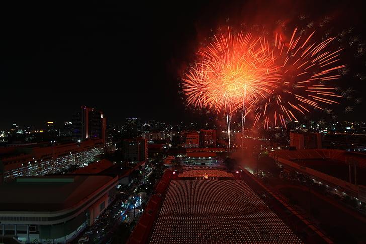 bangkok, thailand, fireworks, celebration, city