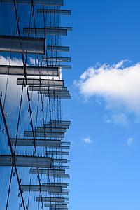 Tööstuslik taust, hoone klaasist, Moodne arhitektuur, linnastu, klaas, tehnilise mõtte, büroohoone