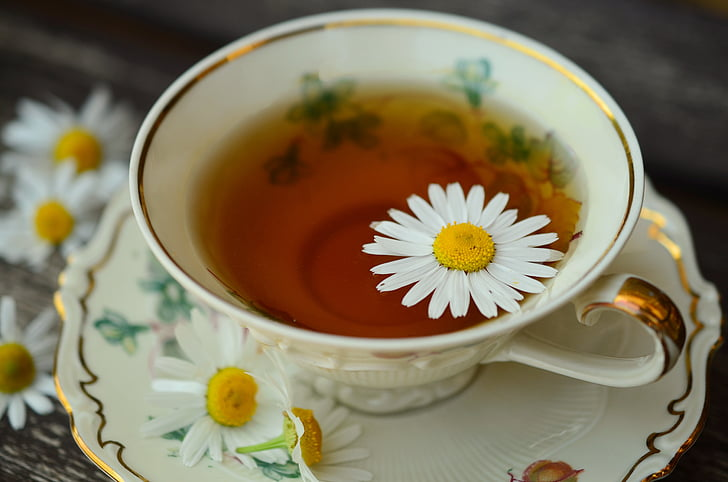 chamomile, chamomile tea, cup, gold edge, drink, healthy, medicinal herbs