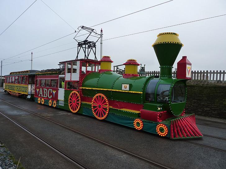 기차, 조명, 트램, 서 부 열차, 해변, 블랙 풀