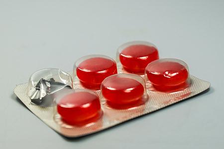 Pastila, tabletke, medicine, drog, zdravilo, gripa, grlo