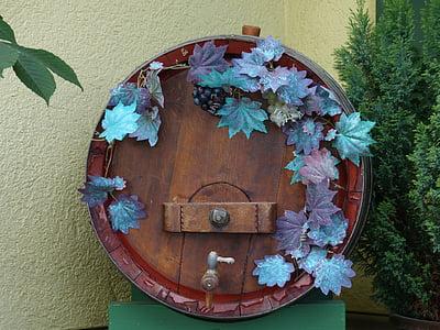 baril, tonneau de vin, vin, tonneaux en bois, fleur, bois - matériau, décoration