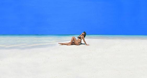 modèle, beauté, femme, femelle, Portrait, plage, eau
