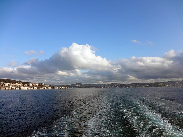 Törökország, Boszporusz, szoros, Isztambul, híd, csatorna, hajó