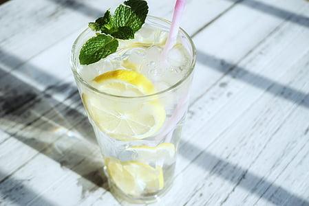 transparent color, gel, llimona, refresc, aliments i begudes, got d'aigua, beguda