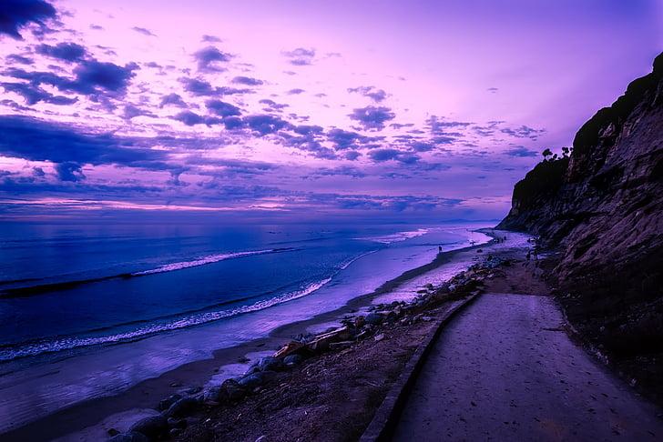 Califórnia, pôr do sol, Crepúsculo, céu, nuvens, praia, beira-mar