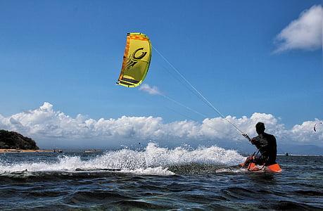 kitesurfing, Bali, Sanur, simsport, åtgärd, vind, vågor