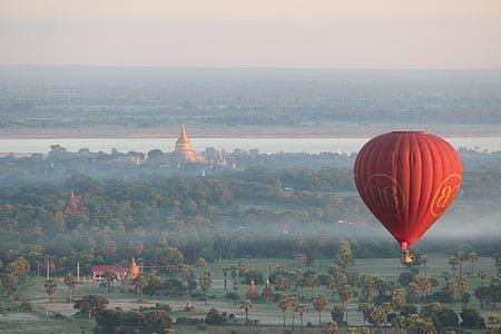 ballonger över bagan, varm luftballong ride, Bagan, luftballong, Myanmar, Pagoda, varmluftsballong