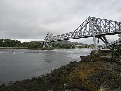 connel, bridge, scotland, iron bridge, steel bridge, river bridge, river span