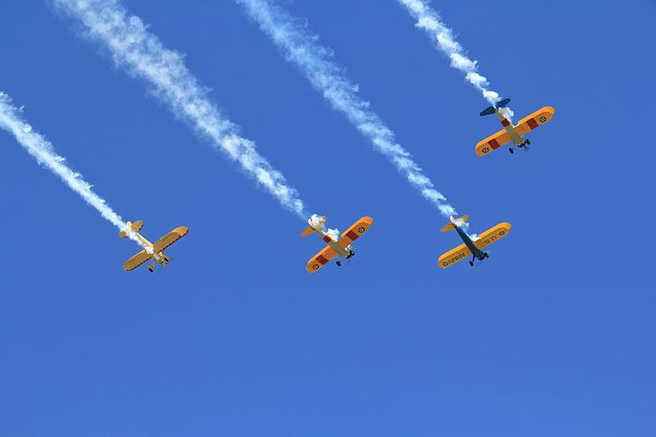 muodostelmassa, muodostumista lento, Airshow, lentokone, veteraanien paraati, taivas, sininen