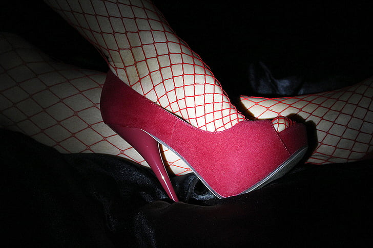 high heels, high heeled shoes, red, fishnet stocking, erotic