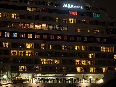 Hamburg, natt, hafengeburtstag, kryssningsfartyg, Tyskland, hamn, Aida