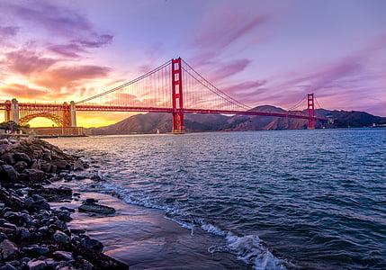 suspension bridge, bridge, river, water, suspension, landmark, architecture