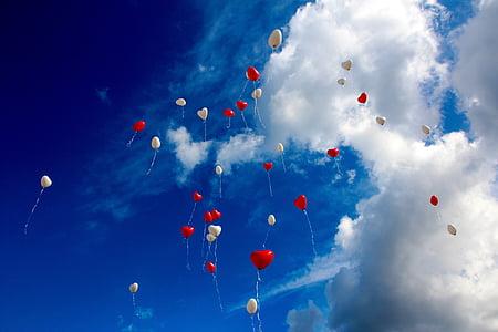 globus, núvols, volar, cor, cor en forma de, l'amor, vermell