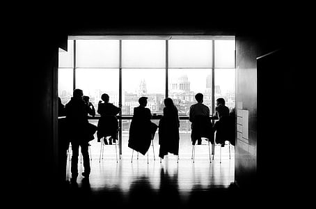 bar, business, conference, corporate, meeting, people, silhouettes