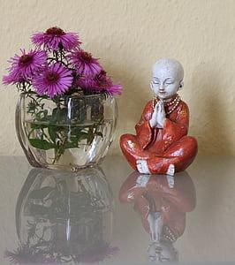 gyermekek szám, Buddha, Aster, tükrözés, üveg asztal