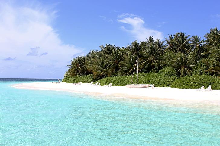 Maldive, plajă, mare, turcoaz, cer, nori, vacanta