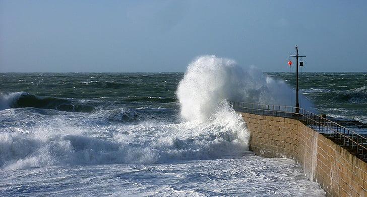 víz, hullám, Surf, spray, fej, tenger