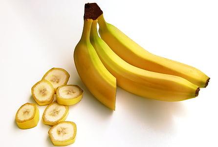 bananer, mad, frugt, banan, friskhed, gul, moden