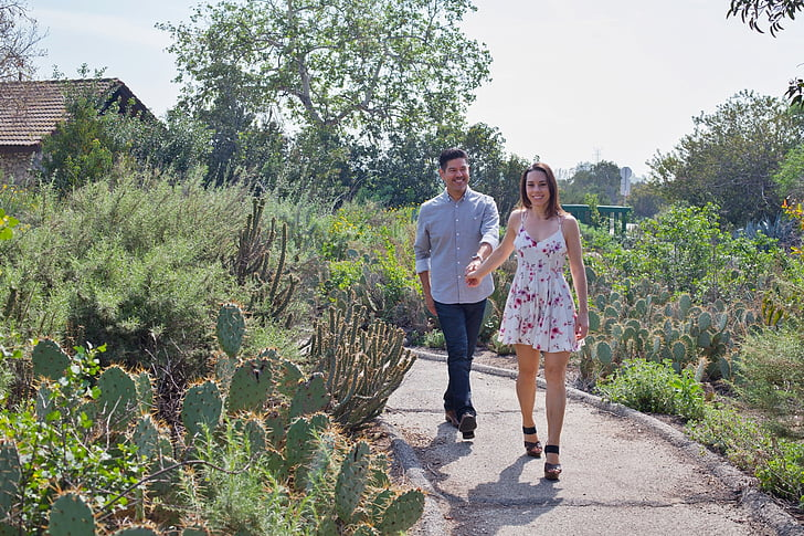 couple, love, garden, walking, romance, loving couple, boyfriend