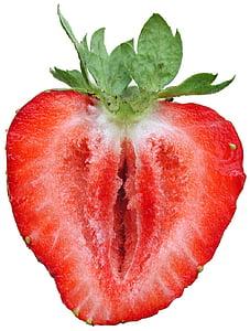 zemeņu, celulozes, sagriezta, garšīgs, Frisch, augļi, sarkana