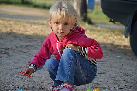 girl, blonde, baby, plays, childhood, kid, small
