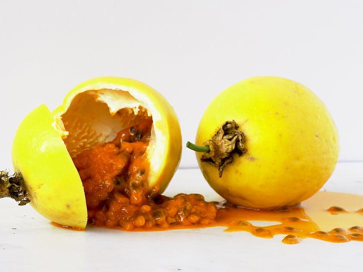 fruita de la passió, fruita, polpa, passió, fruits tropicals, Passiflora edulis, aliments