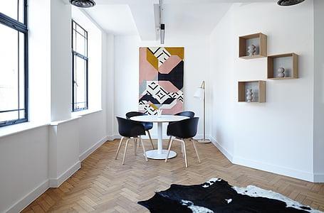 cadires, contemporani, mobles, disseny d'interiors, Làmpada, sala, catifa