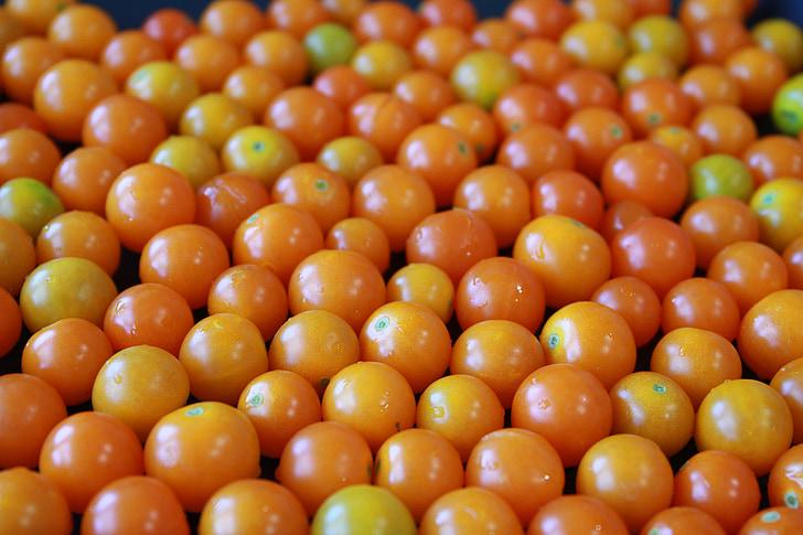 dzeltens ķir u tomātu, Yellow Tomātu, ķir u tomātu, nelielu tomāti, dzeltena, tomāti, oranža